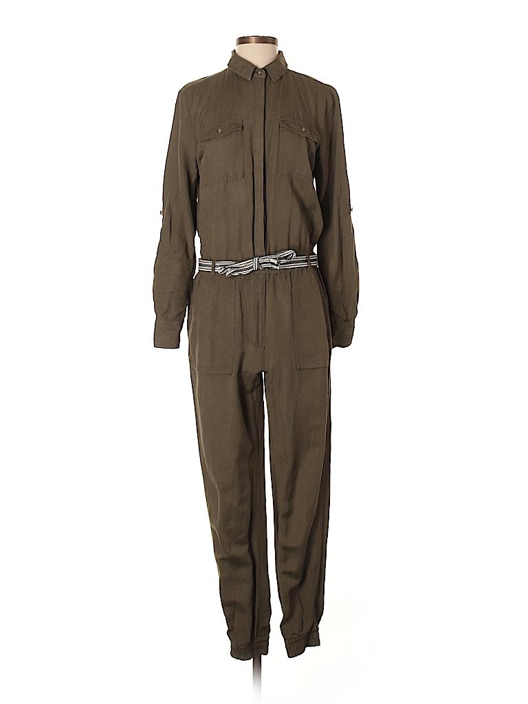 Ann Taylor Loft Stripes Color Block Dark Green Jumpsuit Size Xs 60