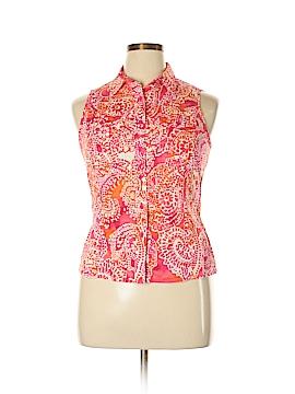 Jones New York Sleeveless Button-Down Shirt Size L (Petite)