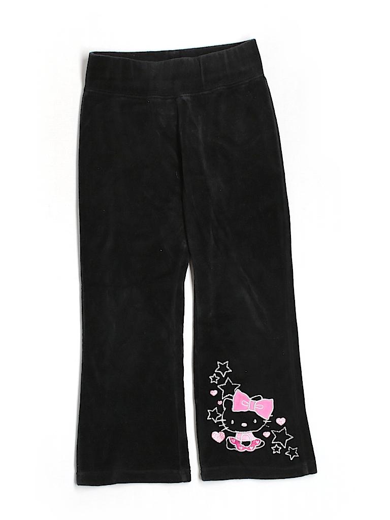 bf7e93fea Hello Kitty Hearts Graphic Dark Green Gray Velour Pants Size 6 - 63 ...