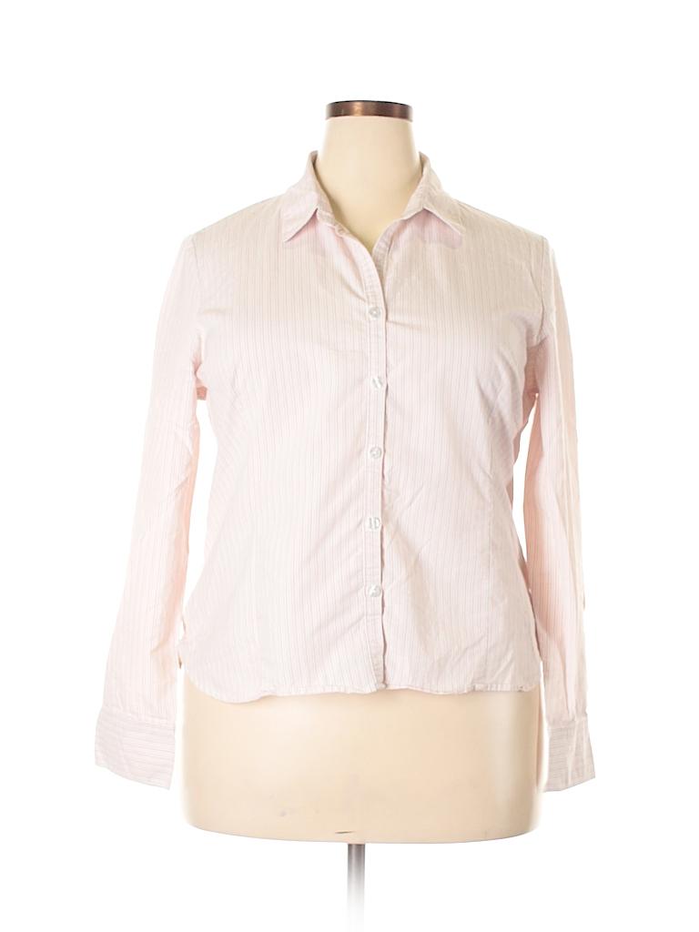George Women Long Sleeve Button-Down Shirt Size XXL