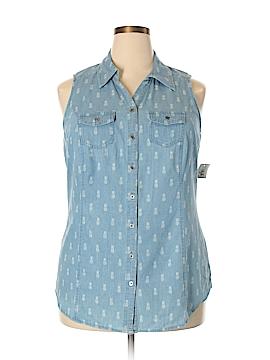 Style&Co Sleeveless Button-Down Shirt Size 2X (Plus)