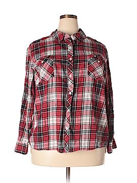 Joe Boxer Long Sleeve Button-Down Shirt Size 2X (Plus)