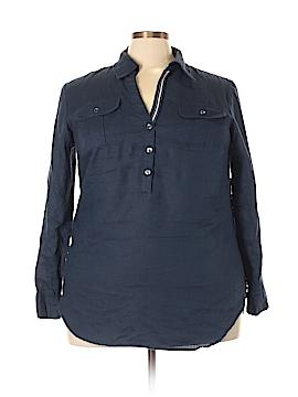 Jones New York Signature 3/4 Sleeve Button-Down Shirt Size 2X (Plus)