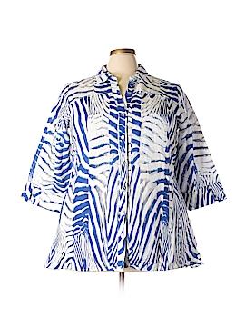 JM Collection 3/4 Sleeve Button-Down Shirt Size 2X (Plus)
