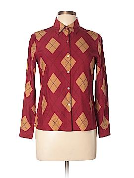 Petite Sophisticate Long Sleeve Silk Top Size 4