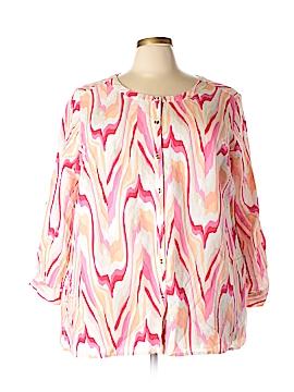 JM Collection 3/4 Sleeve Button-Down Shirt Size 3X (Plus)