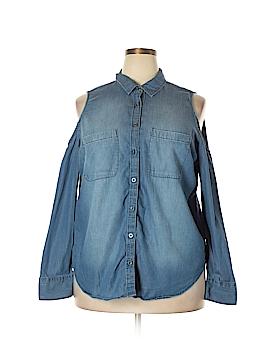 Boutique + Long Sleeve Button-Down Shirt Size 1X (Plus)