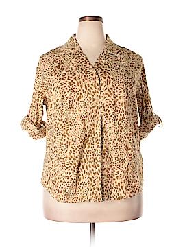 Denim + Company 3/4 Sleeve Button-Down Shirt Size 1X (Plus)