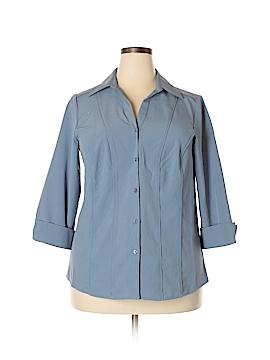 Roz & Ali 3/4 Sleeve Button-Down Shirt Size 1X (Plus)