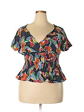 Ralph Lauren Short Sleeve Silk Top Size XL