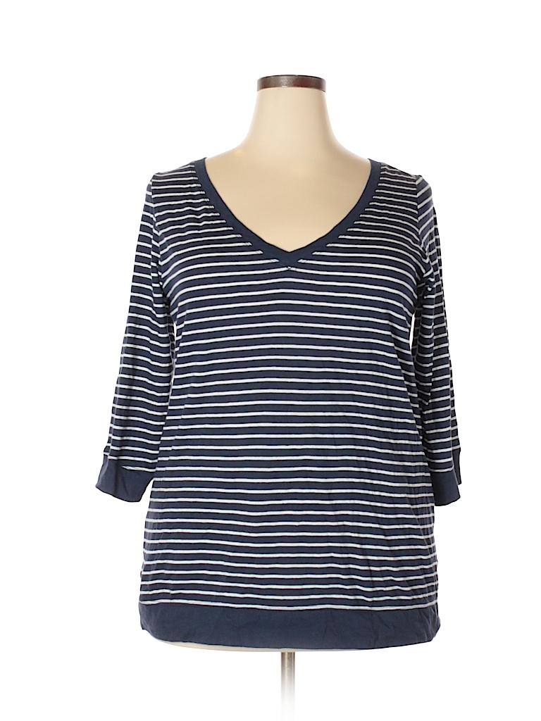 ec7ae68d0e4 Torrid Stripes Navy Blue 3 4 Sleeve Top Size 2X Plus (2) (Plus) - 73 ...