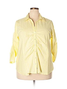 Jessica London 3/4 Sleeve Button-Down Shirt Size 18 (Plus)