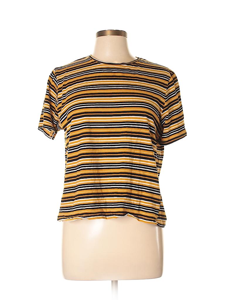04abe4e0 Zara 100% Cotton Stripes Dark Yellow Short Sleeve T-Shirt Size L ...