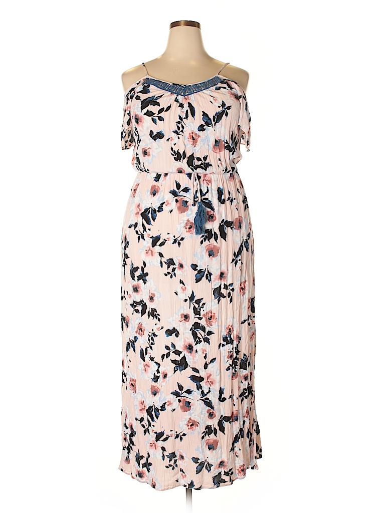 8c3f0983d Xhilaration 100% Rayon Floral Light Pink Casual Dress Size XXL - 50 ...