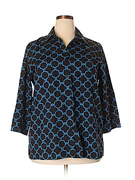 Foxcroft 3/4 Sleeve Button-Down Shirt Size 18W (Plus)