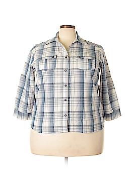 Tantrums 3/4 Sleeve Button-Down Shirt Size 2X (Plus)