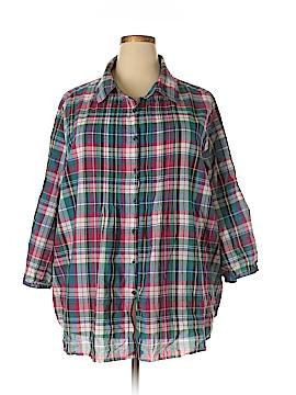 Roaman's 3/4 Sleeve Button-Down Shirt Size 32 (Plus)