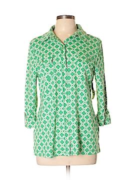 Charter Club 3/4 Sleeve Button-Down Shirt Size L
