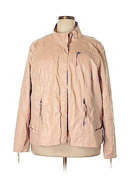 Pink Envelope Faux Leather Jacket Size 3X (Plus)