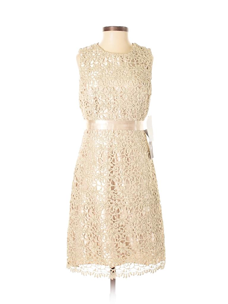 Jessica McClintock 100% Polyester Lace Beige Cocktail Dress Size 2 ...