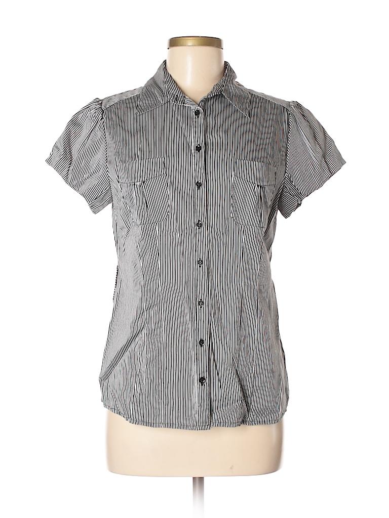 8e93405e DressBarn Stripes Black Short Sleeve Button-Down Shirt Size M - 58 ...