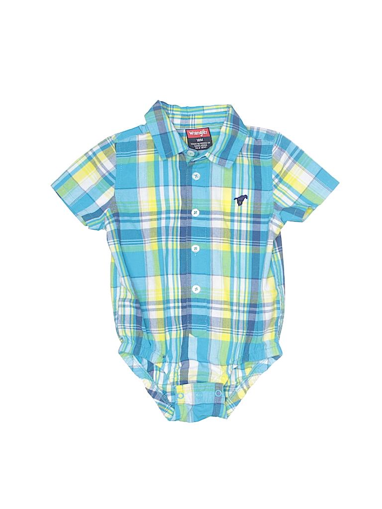 ac52b561 Wrangler Jeans Co Plaid Blue Short Sleeve Onesie Size 18 mo - 90 ...