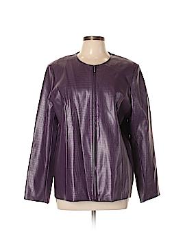 Susan Graver Faux Leather Jacket Size L