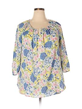 Chaps 3/4 Sleeve Blouse Size 1X (Plus)