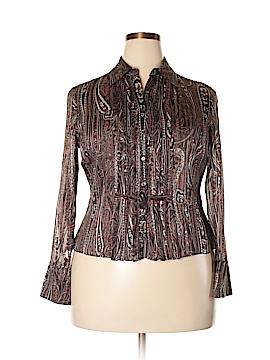 Jones New York Collection Long Sleeve Silk Top Size 14 (Petite)