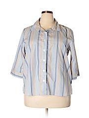 Rebecca Malone Women 3/4 Sleeve Button-Down Shirt Size 1X (Plus)