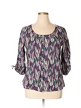 Liz & Co 3/4 Sleeve Button-Down Shirt Size XL
