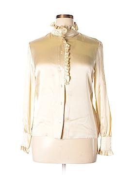 Oscar by Oscar De La Renta Long Sleeve Silk Top Size 14