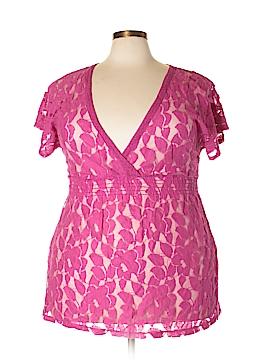 Eyelash Couture Short Sleeve Blouse Size 3X (Plus)