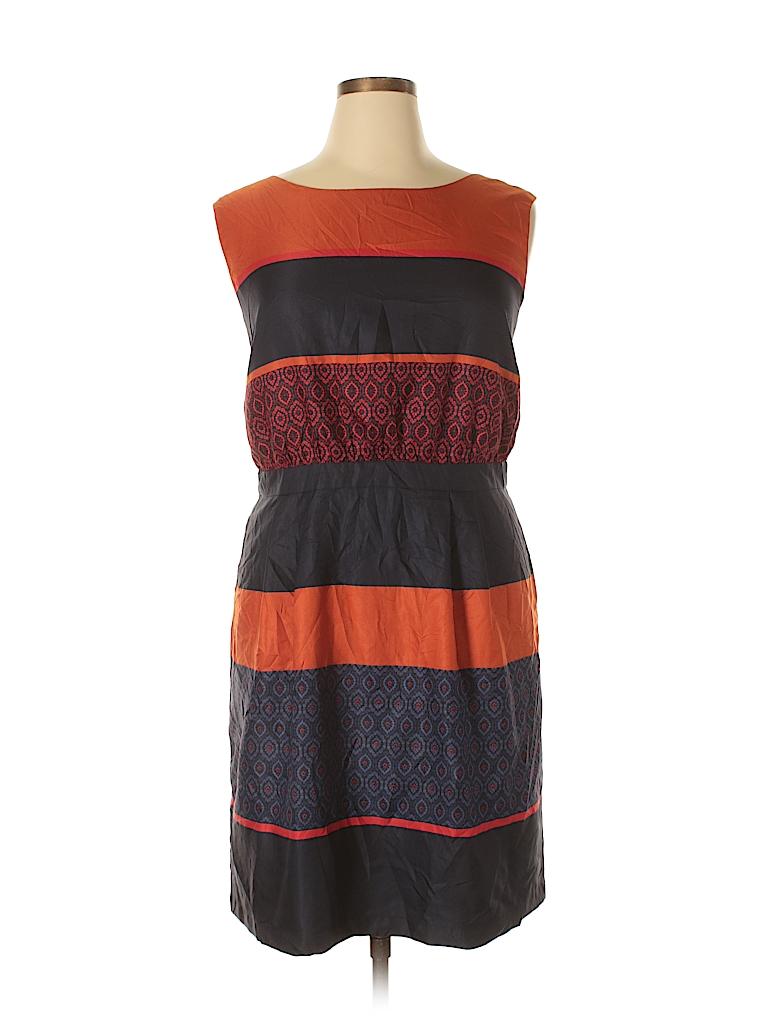 a91ecd772a Ann Taylor LOFT Outlet 100% Polyester Stripes Navy Blue Casual Dress ...