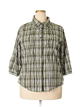 North Crest 3/4 Sleeve Button-Down Shirt Size 1X (Plus)