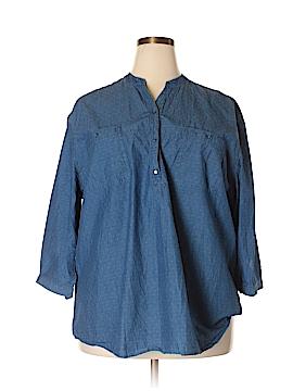 Bit & Bridle 3/4 Sleeve Button-Down Shirt Size 3X (Plus)
