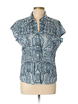 Liz & Co Short Sleeve Button-Down Shirt Size XL