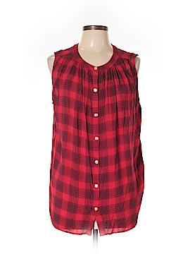 Great Northwest Indigo Sleeveless Button-Down Shirt Size 1X (Plus)