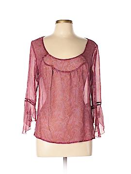 Aqua 3/4 Sleeve Silk Top Size L