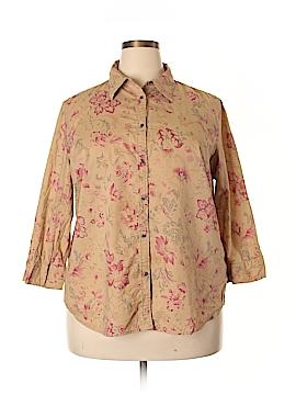 Chaps 3/4 Sleeve Button-Down Shirt Size 2X (Plus)