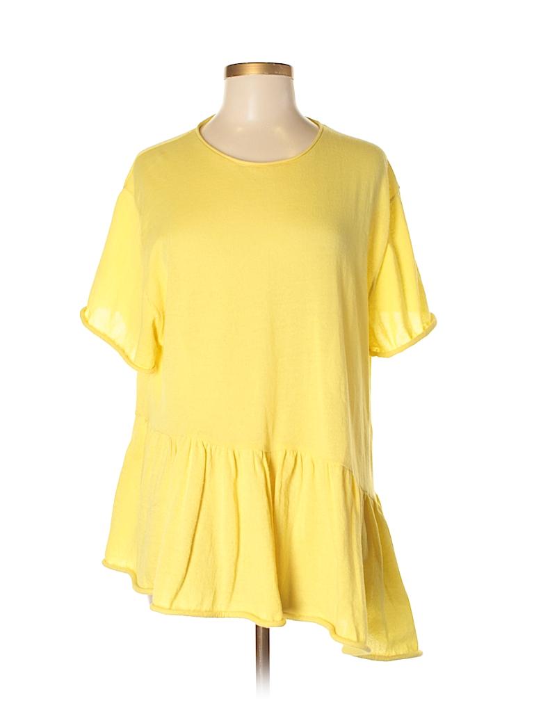 7886c2d8 Zara Solid Yellow Short Sleeve Top Size M - 54% off | thredUP