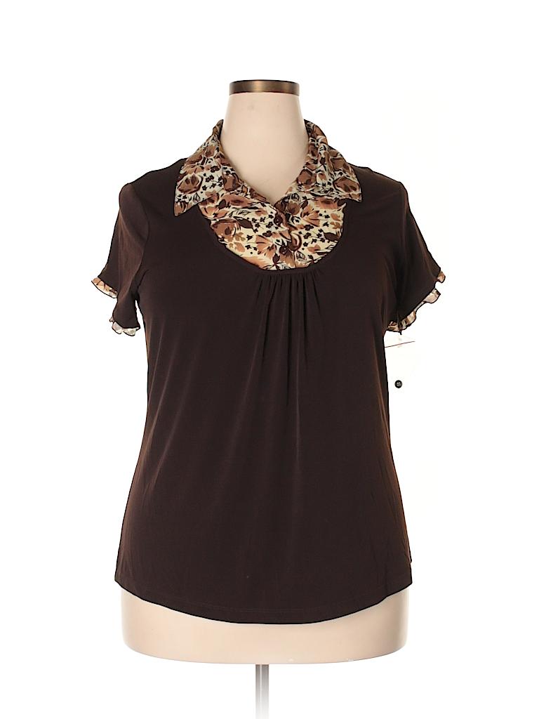 a3369e96b Bay Studio Print Brown Short Sleeve Blouse Size 1X (Plus) - 77% off ...