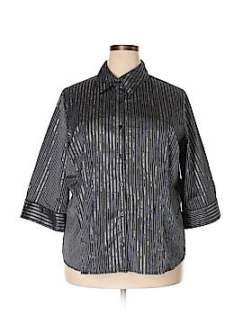 Fred David 3/4 Sleeve Button-Down Shirt Size 2X (Plus)