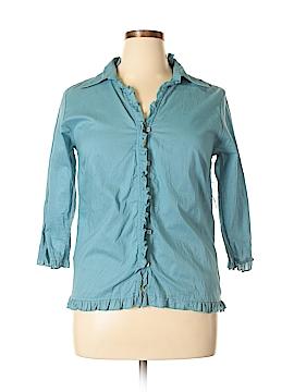 PASSPORTS 3/4 Sleeve Button-Down Shirt Size XL