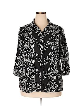 Lauren Michelle 3/4 Sleeve Button-Down Shirt Size 1X (Plus)