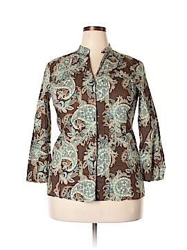Emma James 3/4 Sleeve Button-Down Shirt Size 16