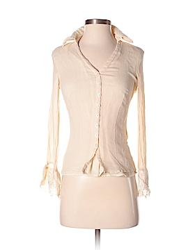 AK Anne Klein Long Sleeve Silk Top Size 4 (Petite)
