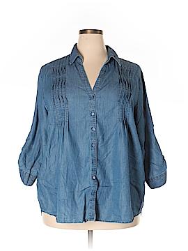 Gloria Vanderbilt Long Sleeve Button-Down Shirt Size 2X (Plus)