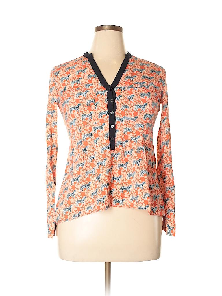 Vanessa Virginia 100 Rayon Print Orange Long Sleeve Blouse Size 6 Pin It Women