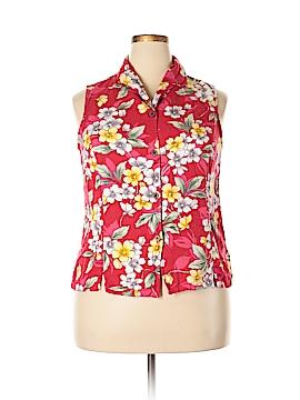 Jamaica Bay Sleeveless Button-Down Shirt Size 1X (Plus)